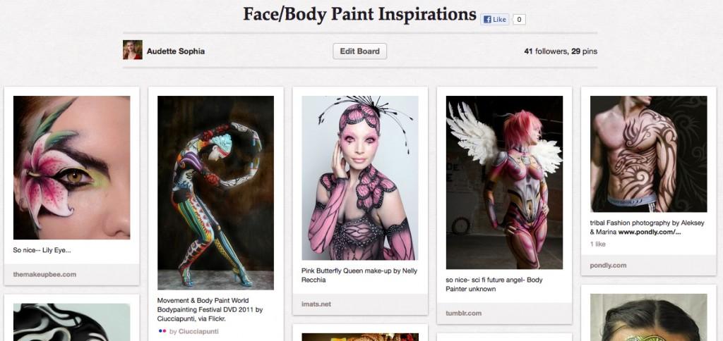 Audette Sophia pinterest board of Face Body Paintings