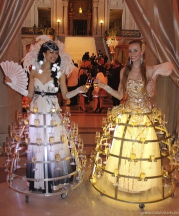elegant champagne skirts by Catalyst Arts Entertainment San Francisco