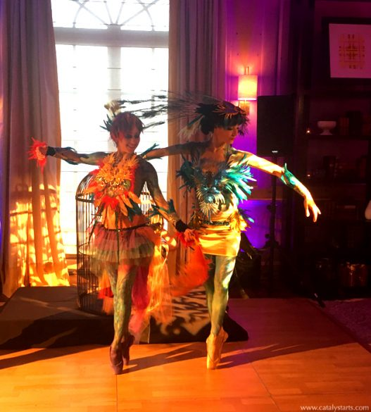 Rainbow Peacock Birds of Paradise Ballerina Dancers + body painted dancers signature of www.catalystarts.com