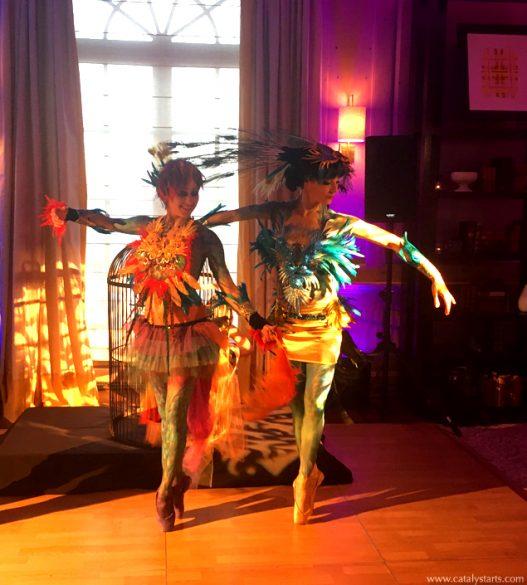 Rainbow Peacock Birds of Paradise Ballerina Dancers + body painted dancers signature of www.catalystarts.com