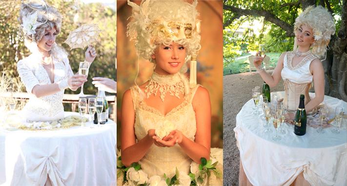 Edwardian Elegance Champagne Living Tables for California Wedding by www.catalystarts.com
