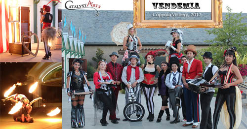 Catalyst Arts Circus performers at Vendemia at Francis Ford Coppola winery