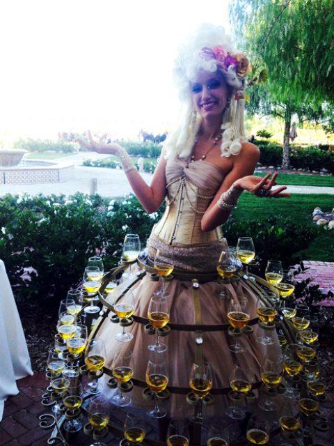 Antoinette champagne skirt at Wine Country wedding- www.catalystarts.com