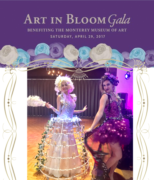 Art in bloom gala- champagne dress and floral light entertainer hostess by Catalyst Arts