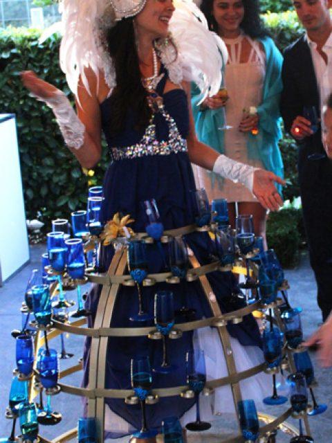 Blue moon hostess champagne skirt at wedding- www.catalystarts.com