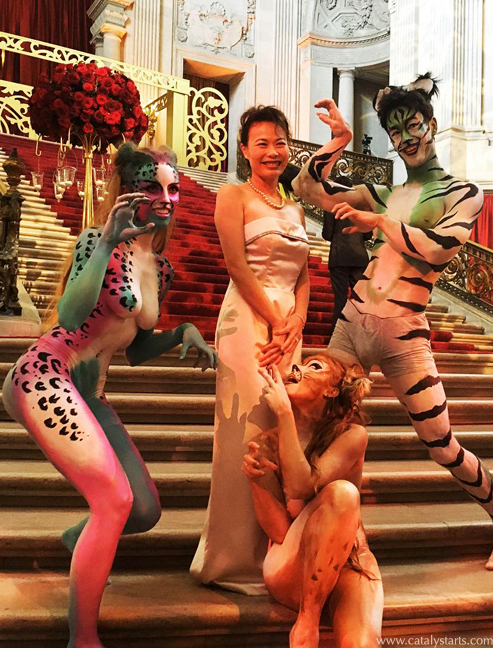 Body Painted Cat character models by Catalyst Arts Entertainment in San Francisco - Corporate Event