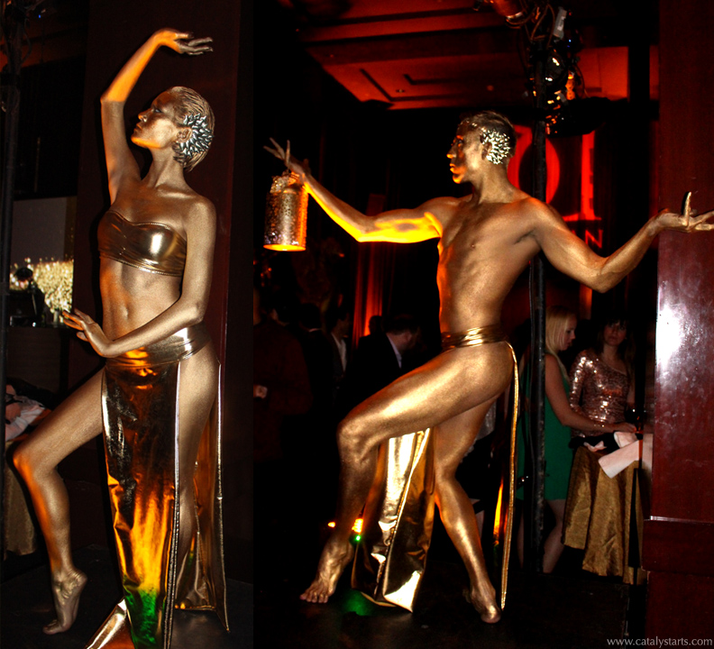 Gold Body painted Statue dancers & living decor by Audette Sophia & Catalyst Arts Entertainment in California- www.catalystarts.com