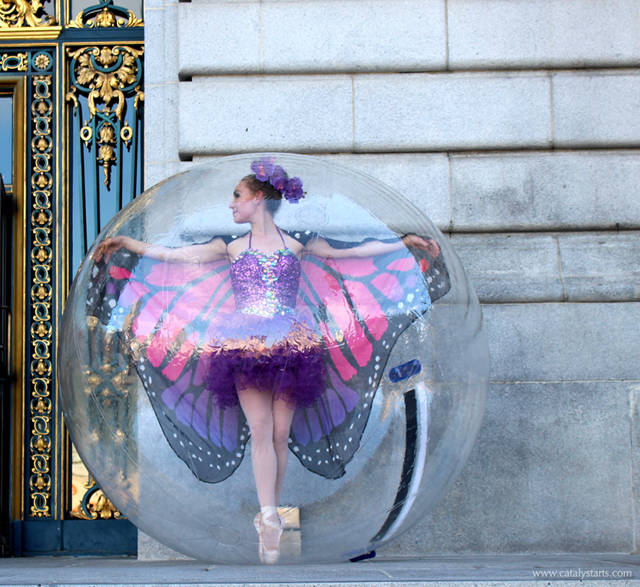 Butterfly Ballerina in a Bubble- costume/booking- Catalyst Arts www.catalystarts.com