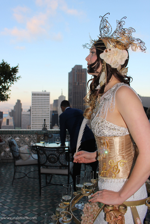 golden champagne skirt on the penthouse balcony- www.catalystarts.com