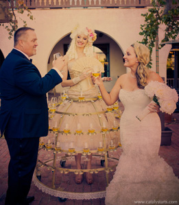 Champagne skirt at winery wedding by www.catalystarts.com