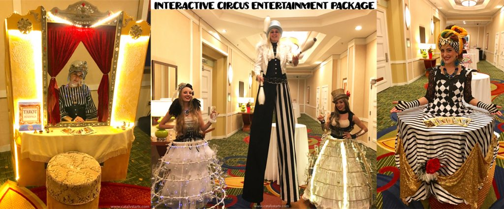 circus themed entertainment package for software company party- www.catalystarts.com
