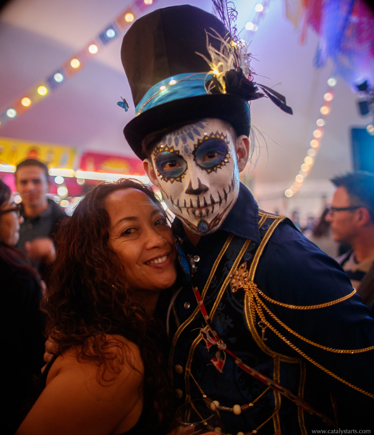 Day of the Dead Maestro with guest at Luzia premier for Cirque du Soleil in SF- by Catalyst Arts