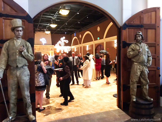 gold living statues, victorian edwardian steampunk living statues by www.catalystarts.com