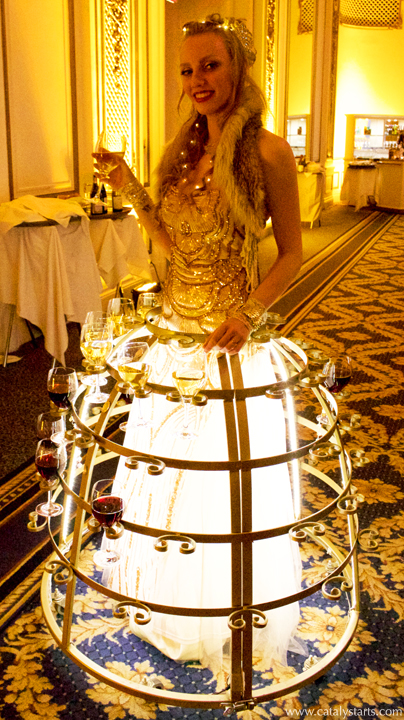 Golden LED Wine & Champagne skirt by www.catalystarts.com