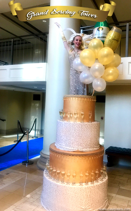 Grand Serving Tower- cake & champagne tower by Catalyst Arts California- www.catalystarts.com