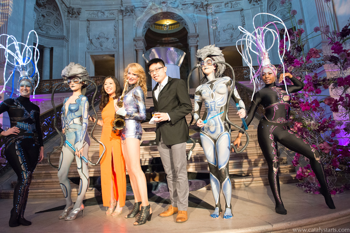 Alien body painted back to the future models and dancers in San Francisco Corporate Event