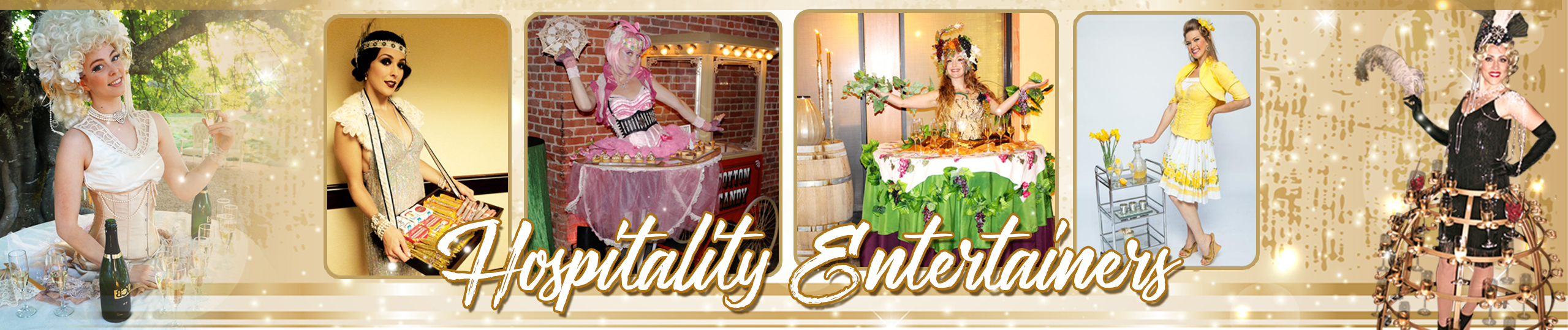 Hospitality entertainers tray ladies living tables champagne skirts by Catalyst Arts