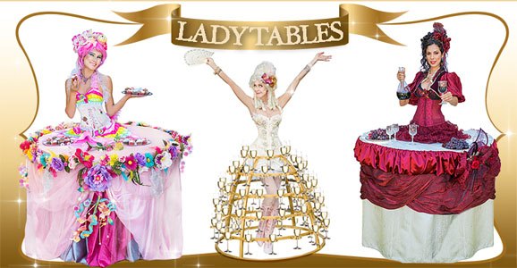 Lady tables champagne skirts & living tables in Los Angeles - www.catalystarts.com