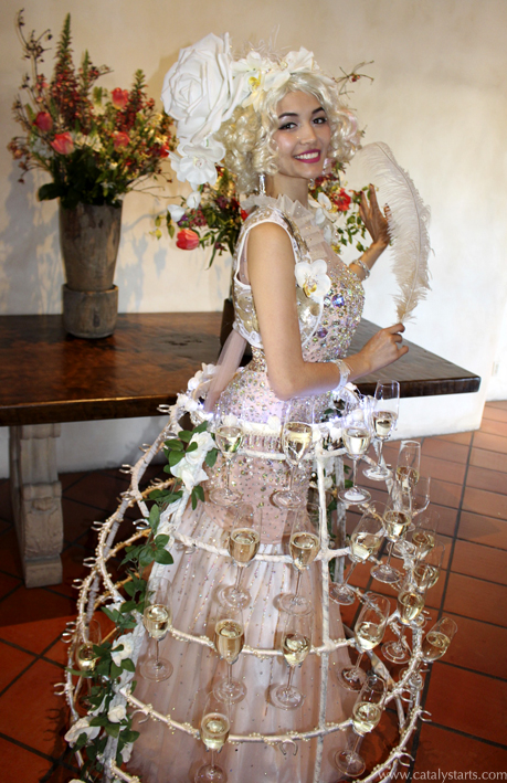light floral champagne skirt hostess- champagne dress by Catalyst Arts Entertainment in California
