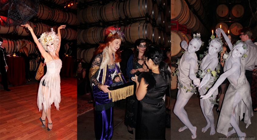 Masquerade Ball at Coppola Winery with interactive entertainment by www.catalystarts.com