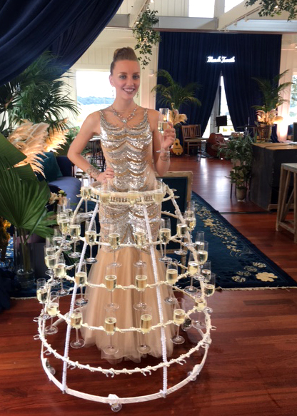 Catalyst Arts Champagne Skirt lady at elegant wine country wedding