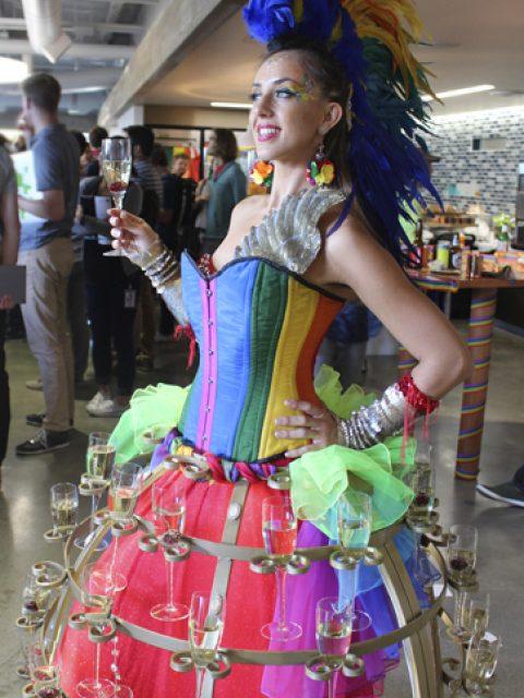 Rainbow Pride Wild Champagne Hostess model- www.catalystarts.com