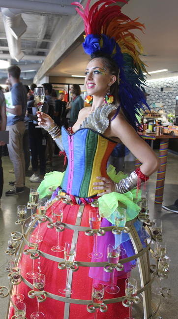 Rainbow Pride Wild Champagne Hostess model- www.catalystarts.com