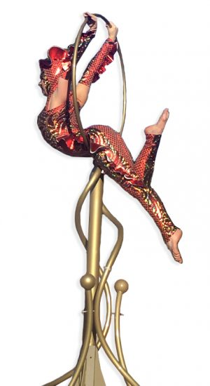 Red Fish themed contortionist on free standing lyra by Catalyst Arts