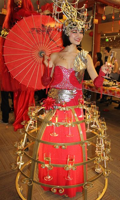 Red & gold Asian Showgirl Champagne Skirt for chinese new year party- www.catlaystarts.com