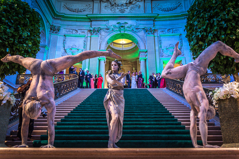 Stone body painted living statues perform contortion at SF City Hall for Opera Ball- www.catalystarts.com