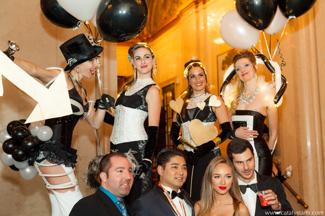 catalyst arts stilt walkers at A List NYE party in san francisco