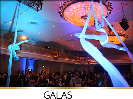 Aerialists silks artists from Catalyst Arts at SF Gala