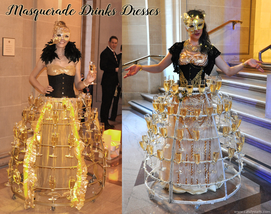 Champagne Skirt Drink Dresses by Catalyst Arts Entertainment California