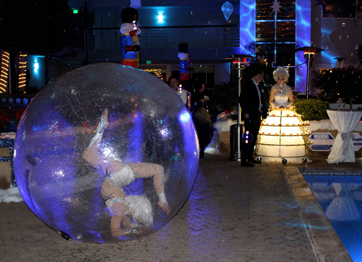 Catalyst Arts Contortionist and Champagne Skirt in Winter Wonderland Theme
