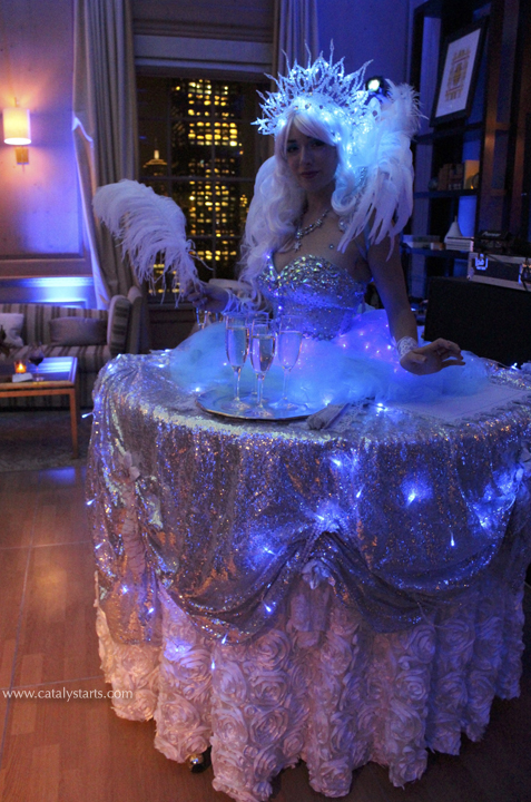 LED ice queen showgirl living table by www.catalystarts.com