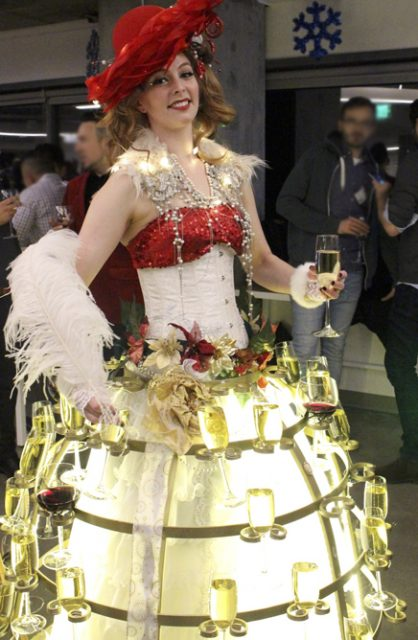 Holiday Cheer Wine & Champagne Skirt by Catalyst Arts San Francisco