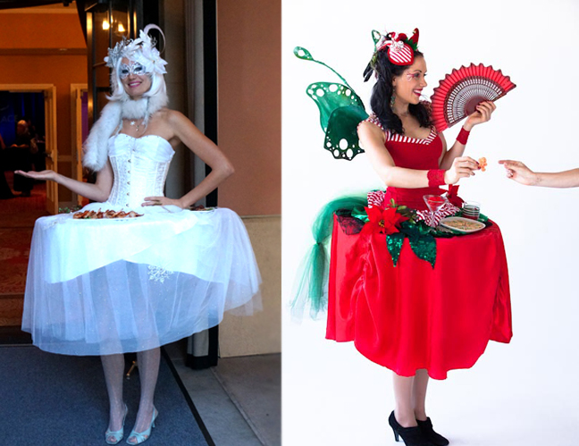 Holiday party Strolling servers- serving skirts hostesses by Catalyst Arts Entertainment in California