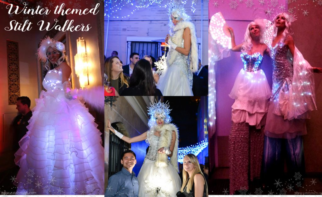 Catalyst Arts Winter Wonderland Theme Stilt Walkers