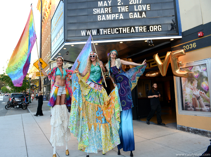 hippie flower child stilt walkers by Catalyst Arts for Share the Love Gala in Berkeley
