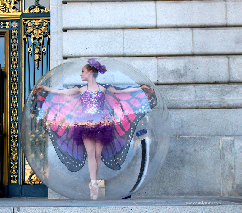 Butterfly Ballerina in a Bubble by Catalyst Arts Entertainment in San Francisco