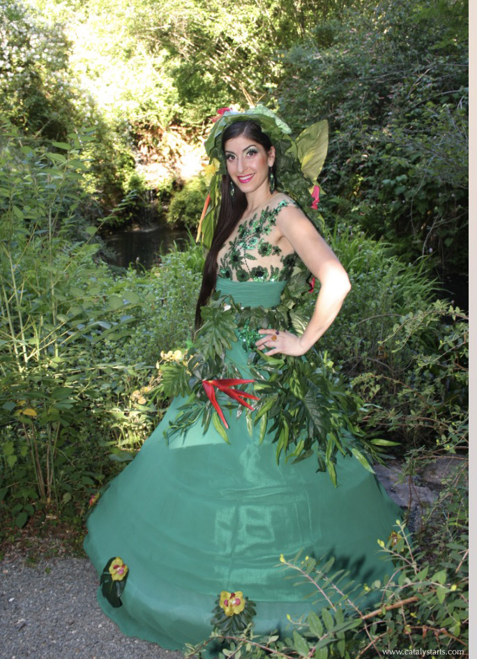 Rainforest costumed hostess at Quarry Hill Botanical Garden- by Catalyst Arts Eventertainment in California