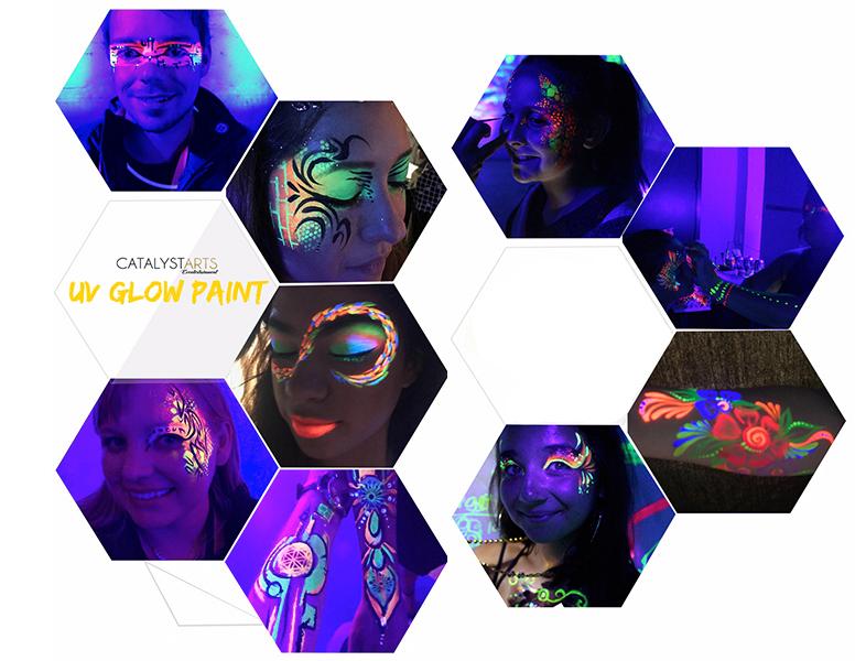 Futuristic Makeup, UV + Blacklight Face painters by Catalyst Arts California