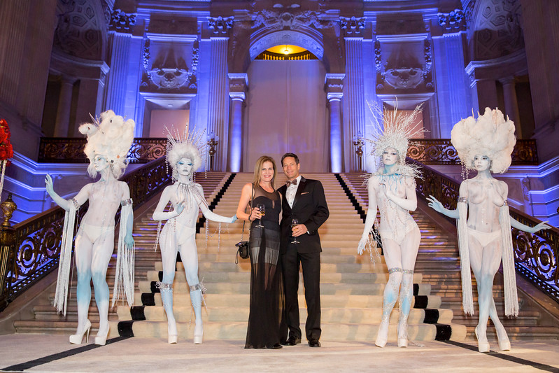 body painted ice queen characters at 007 corporate event- by Catalyst Arts