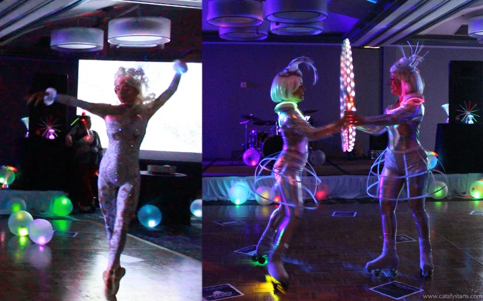 ballerina & roller skate glow hoop duo by Catalyst Arts San Francisco