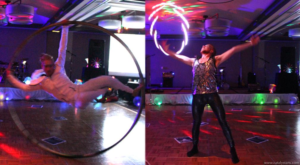 Glow hoop dancer & Cyr Wheel circus artist- by Catalyst Arts Eventertainment SF CA
