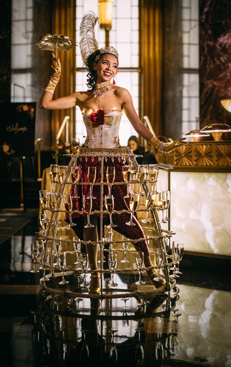Gold & Maroon Champagne Skirt at city club sf