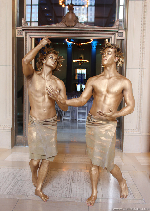Gold body painted Greek God Living Statues by Catalyst Arts California