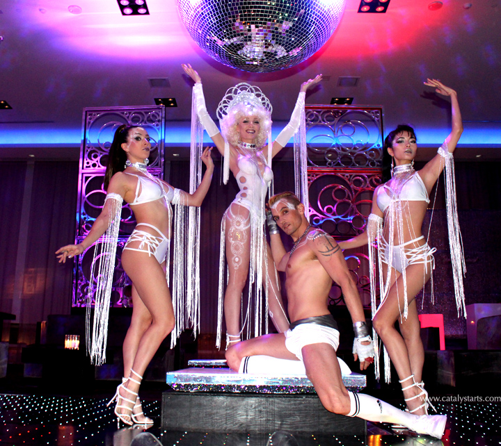 Studio 54 themed Dancers & body painted Goddess by Catalyst Arts Entertainment San Francisco