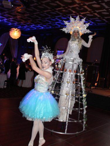 Holiday Ballerina & Champagne Stilt Walker by Catalyst Arts Entertainment in California - www.catalystarts.com