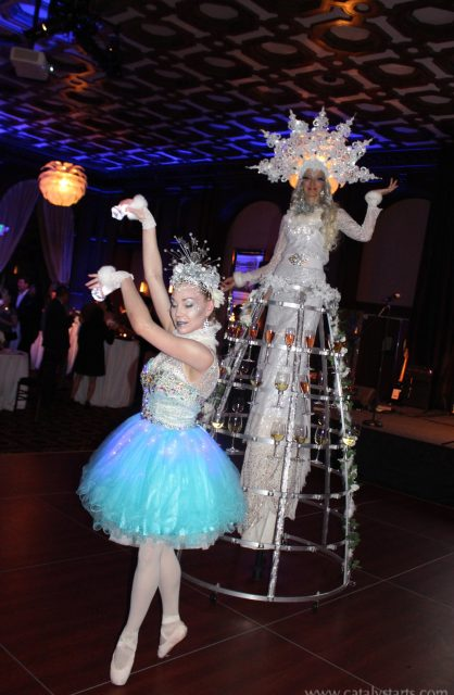 Holiday Ballerina & Champagne Stilt Walker by Catalyst Arts Entertainment in California - www.catalystarts.com